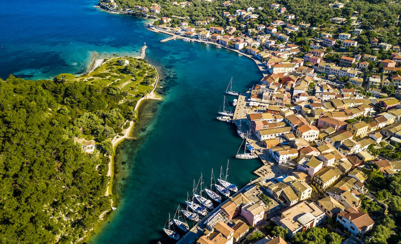 Gaios, capital city of Paxos Island, aerial view. Greece