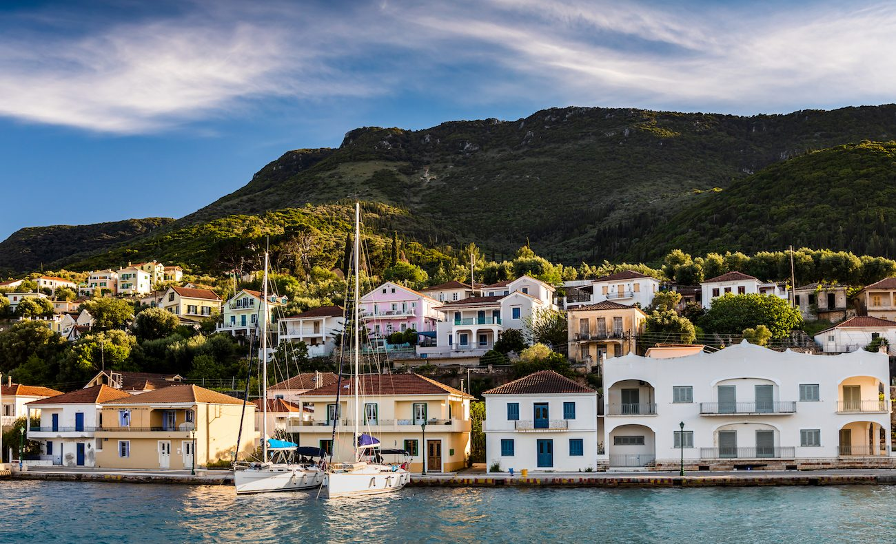 Vathy in Ithaca island, Greece, at sunset